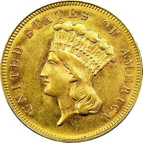 1883 $3 MS obverse