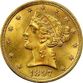 1897 $5 MS obverse