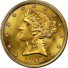 1898 S $5 MS obverse