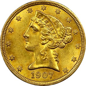1907 $5 MS obverse