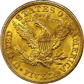 1907 $5 MS reverse