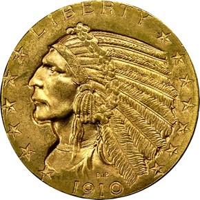 1910 D $5 MS obverse
