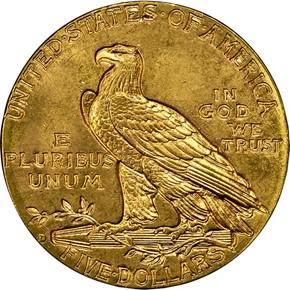 1910 D $5 MS reverse