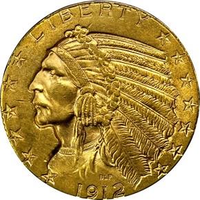 1912 $5 MS obverse