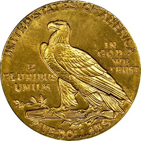 1912 $5 MS reverse