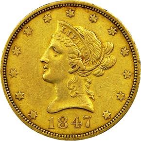 1847 O $10 MS obverse