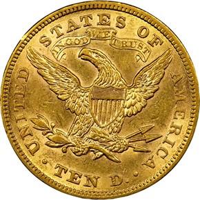 1879 $10 MS reverse