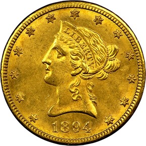 1894 O $10 MS obverse