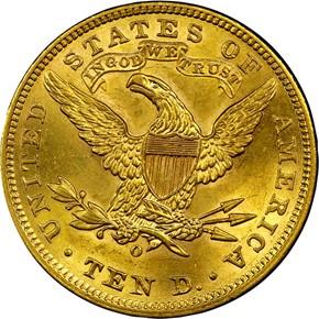 1906 O $10 MS reverse