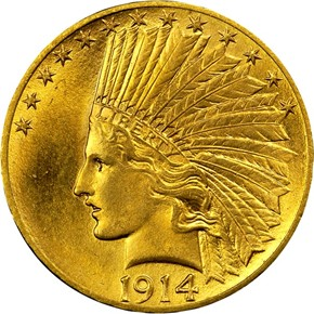 1914 $10 MS obverse