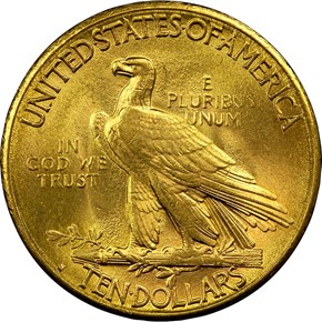 1914 S $10 MS reverse