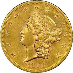 1854 S $20 MS obverse