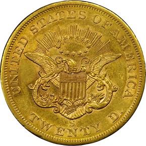 1854 S $20 MS reverse
