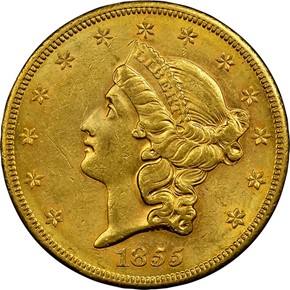 1855 S $20 MS obverse