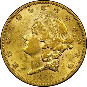 1860 $20 MS obverse