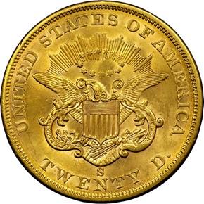1862 S $20 MS reverse