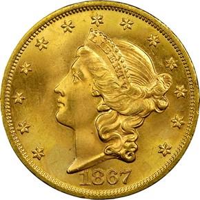 1867 $20 MS obverse