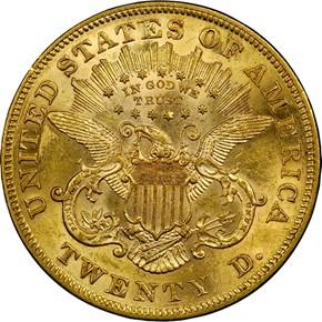1874 $20 MS reverse