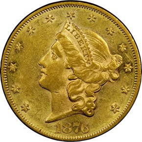 1876 $20 MS obverse