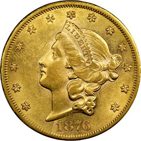 1876 CC $20 MS obverse