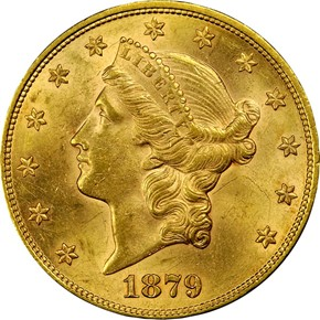 1879 $20 MS obverse