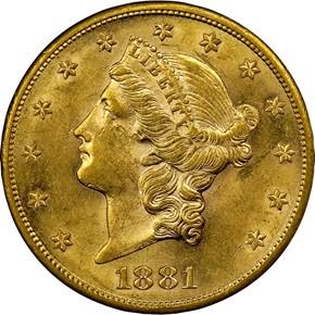 1881 S $20 MS obverse