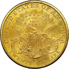 1882 S $20 MS reverse