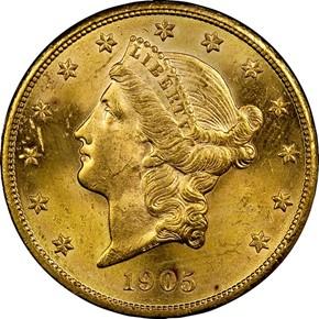 1905 S $20 MS obverse