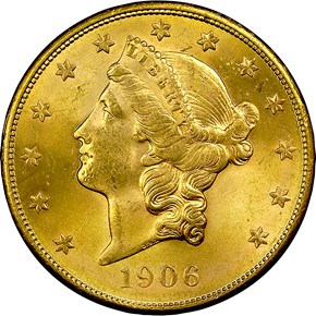 1906 S $20 MS obverse