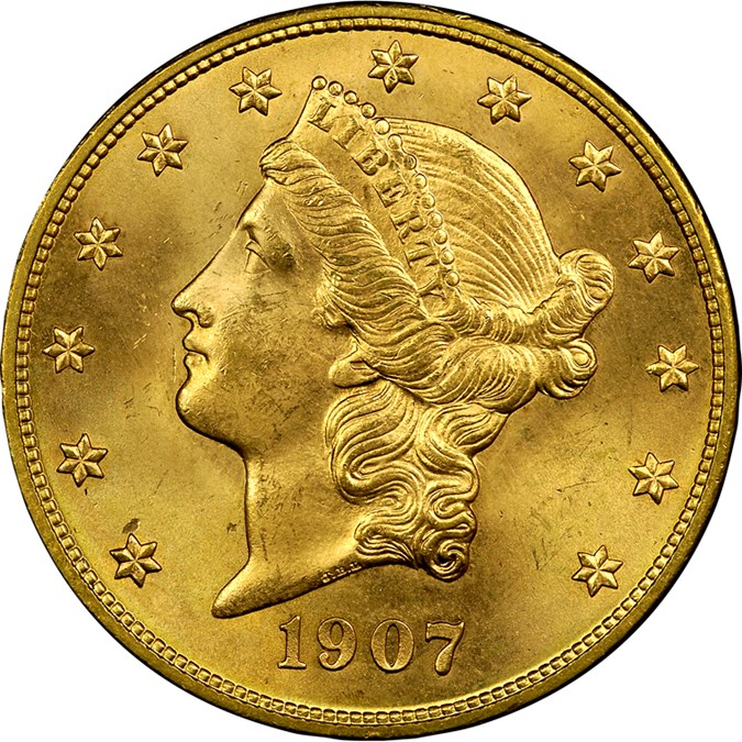 1907 D 20 Ms Liberty Head 20 Ngc