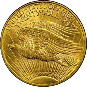 1908 D MOTTO $20 MS reverse