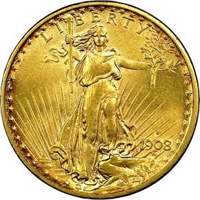 1908 S $20 MS obverse
