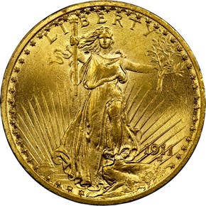 1911 $20 MS obverse