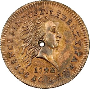 1792 J-1a STRUCK WITHOUT PLUG 1C MS obverse