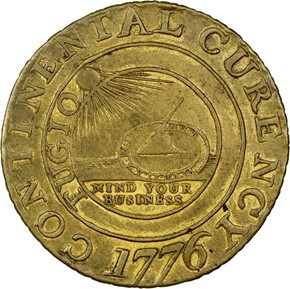 1776 BRASS 'CURENCY' CONTINENT obverse