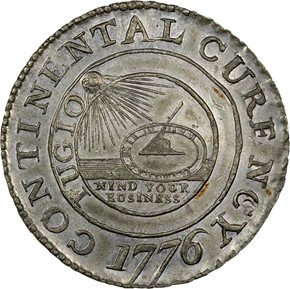 1776 PEWTER 'CURENCY' CONTINENTAL S$1 MS obverse