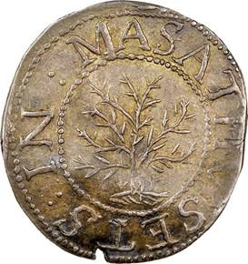 1652 'ANDO' OAK TREE MASSACHUSETTS 1S MS obverse