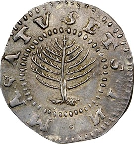 1652 NO 'H' PINE TREE MASSACHUSETTS 1S MS obverse