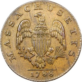 1788 NO PERIOD MASSACHUSETTS 1C MS reverse
