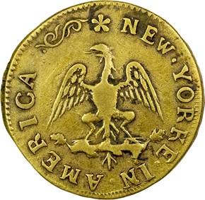c.1670 BRASS NEW YORKE IN AMERICA 1/4P MS reverse