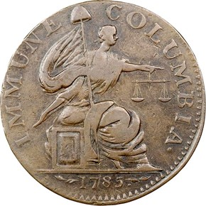1785 14STARS BLUNT RAYS IMMUNE COLUMBIA MS obverse