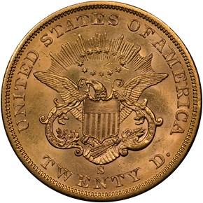 1861 S $20 MS reverse