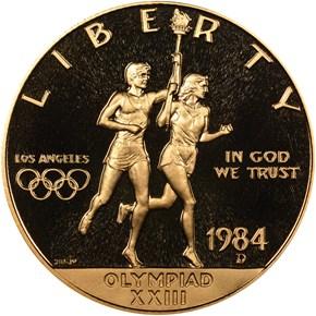 1984 D OLYMPICS $10 PF obverse