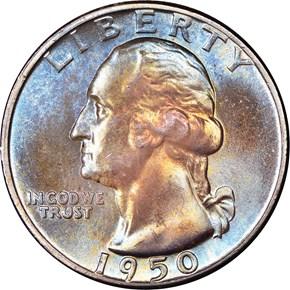 1950 25C MS obverse