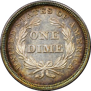 1837 SEATED 10C MS reverse