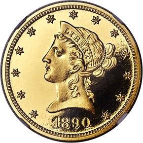 1890 $10 PF obverse