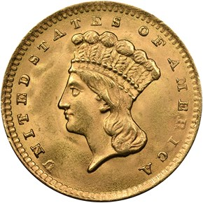 1856 UPRIGHT 5 G$1 MS obverse