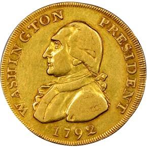 1792 EAGLE & STARS GOLD WASHINGTON PRESIDENT $10 M obverse