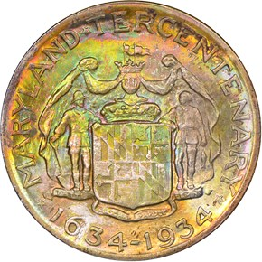 1934 MARYLAND 50C MS reverse