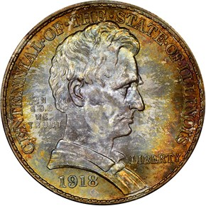 1918 LINCOLN-ILLINOIS 50C MS obverse